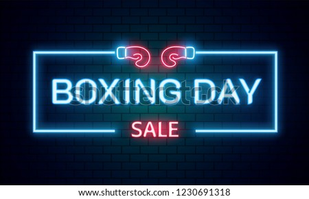 neon text boxing day sale on