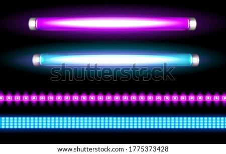 Neon tube lamps and led strips, long luminescence blue and purple light bulbs for night club, or bar signboards, fluorescent lighting. Halogen glowing elements, Realistic 3d vector illustration set