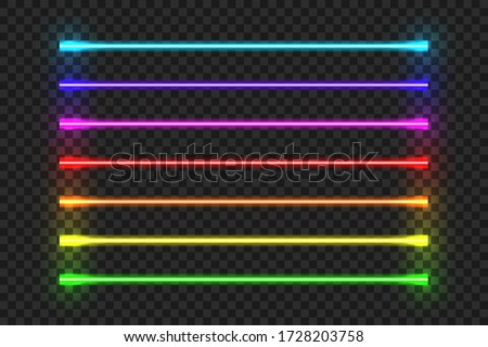 Neon tube. Light blue red color led lamp. Vector electric glowing pink yellow retro decor