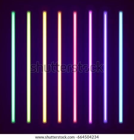 Neon tube light pack isolated on black. Vector illustration
