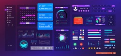 Neon UI  UX  KIT elements set. Universal design interface for Mobile App, web site design and dashboard template. UI, UX and KIT flat elements - search, navigation, buttons, switches, bars. Vector