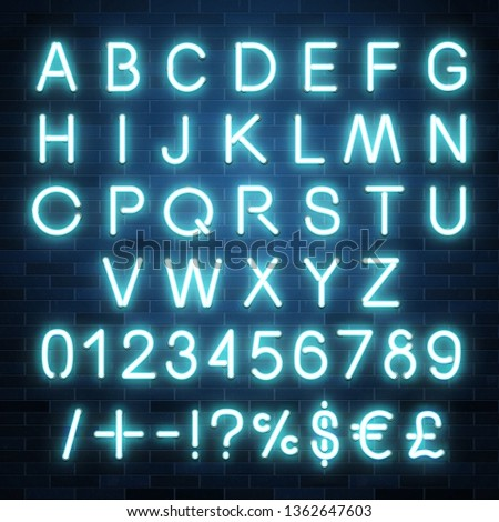 Neon vector alphabet, set of realistic fluorescent glowing letters, numbers and symbols