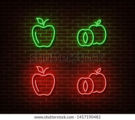 neon vegetable signs vector