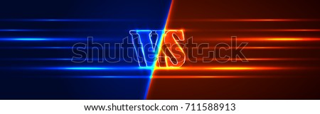 Neon Versus Logo. VS Vector Letters Illustration. Competition Icon. Fight Symbol.