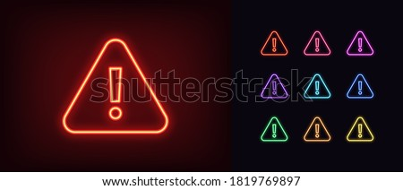 Neon warning icon. Glowing neon warning sign, exclamation mark in vivid colors. Important notification, urgent attention, caution error. Icon set, sign, symbol for UI. Vector illustration