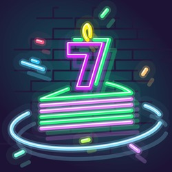 Neon 7 years anniversary candle on cake. Night illuminated wall for social network post or logo. Square illustration on brick wall background.