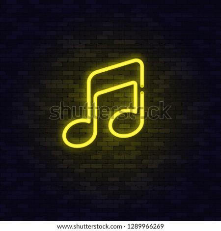 Neon Yellow music note on brick wall. Vector illustration.