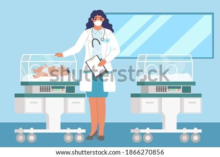 Neonatal resuscitation. Female doctor standing next to newborn baby in incubator, flat vector illustration. Newborn resuscitation.