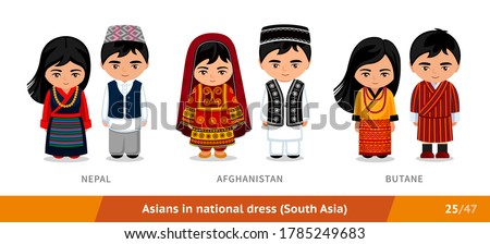 Nepal, Afghanistan, Butane. Men and women in national dress. Set of asian people wearing ethnic clothing. Cartoon characters in traditional costume. South Asia. Vector flat illustration. Photo stock ©