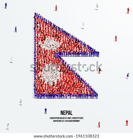 Nepal Flag. A large group of people form to create the shape of the Nepali flag. Vector Illustration. Photo stock ©
