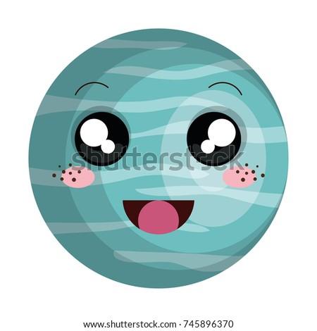 neptune planet kawaii character