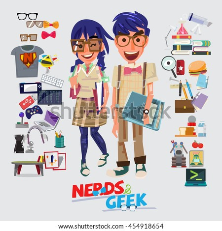 Nerd and Geek character design. male and female with graphic element - vector illustration ストックフォト ©