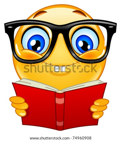 Nerd emoticon - stock vector