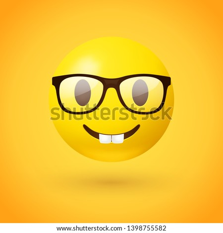 Nerd face emoji - clever emoticon with glasses on yellow background - often used to express or demonstrate someone is being nerdy, or exceptionally technical, or simply someone wearing eyeglasses