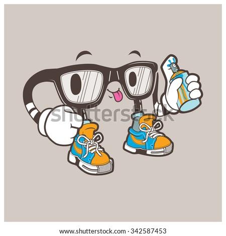 nerd glasses character vector
