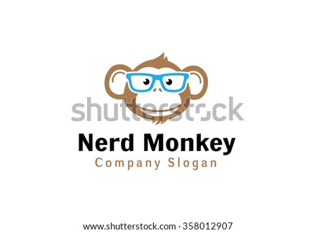 nerd monkey design illustration