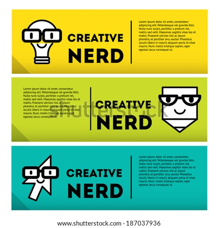 nerds banner icon set with