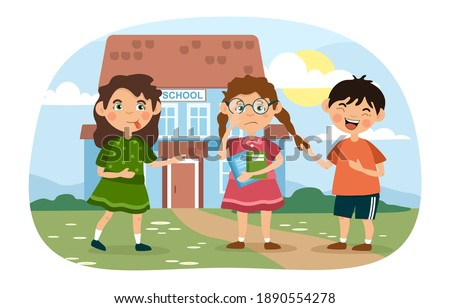 Nerdy or scholastic little girl wearing glasses being bullied at school by a nasty boy and girl jeering at her, colored cartoon vector illustration Stock photo ©