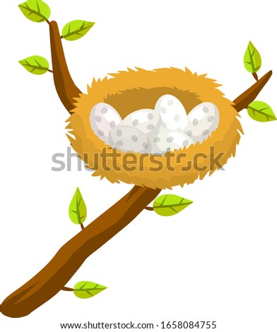 Nest and egg. Place for Chicks. Cartoon flat illustration. element of nature and forests. Wildlife and spring season. Bird house. Tree branch with leaves stock photo