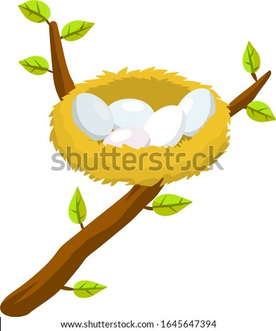 Nest and egg. Place for Chicks. Tree branch with leaves. Cartoon flat illustration. element of nature and forests. Wildlife and spring season. Bird house stock photo