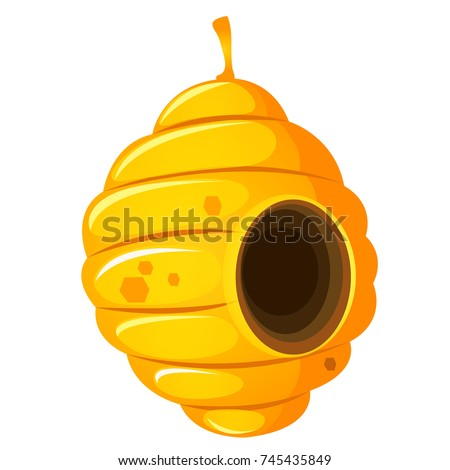 Nest or vespiary of wild bees isolated on white background. Vector cartoon close-up illustration. Сток-фото ©