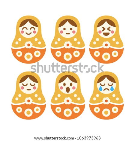 nested doll set of vector hand