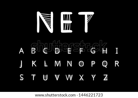 Net hand drawn vector font in cartoon style. Net around letters white on black