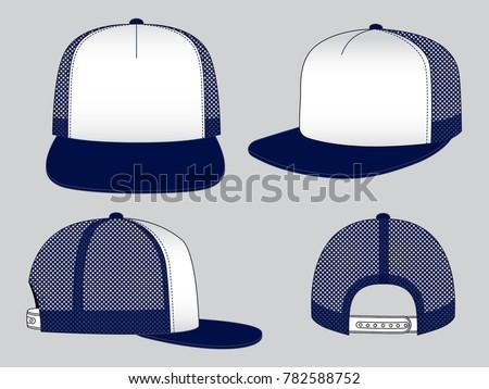 17748fb1 Trucker net cap for vector template. Net Hip Hop Cap Design (White/Navy) :  Front,back and side