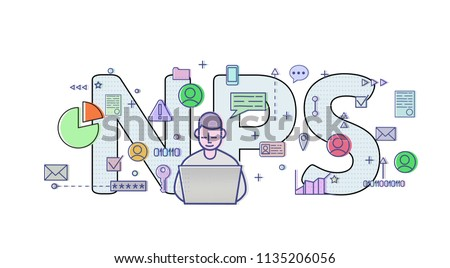 Net Promoter Score, NPS. Concept with computer user, letters and icons. Colored flat vector illustration on white background.
