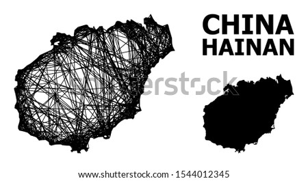 Net vector map of Hainan Island. Linear carcass 2D network in eps vector format, geographic model for economical designs. map of Hainan Island are isolated on a white background.