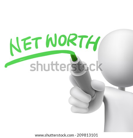 net worth written by a man over white background