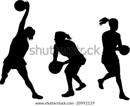 Netball players in action