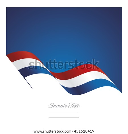 Netherlands abstract wave flag ribbon vector background