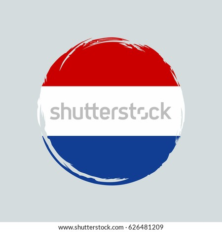 Netherlands flag grunge style. Grunge flag of Netherlands vector illustration. Netherlands colorful brush strokes painted flag icon. Painted Netherlands flag. Brush strokes and ink splatter. Holland.