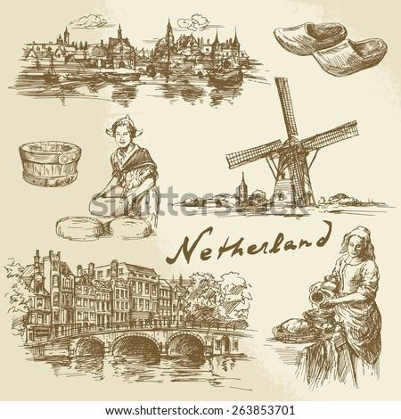 netherlands   hand drawn set