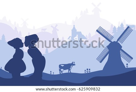 Netherlands, Holland. Dutch national symbols silhouettes on landscape fading background.
