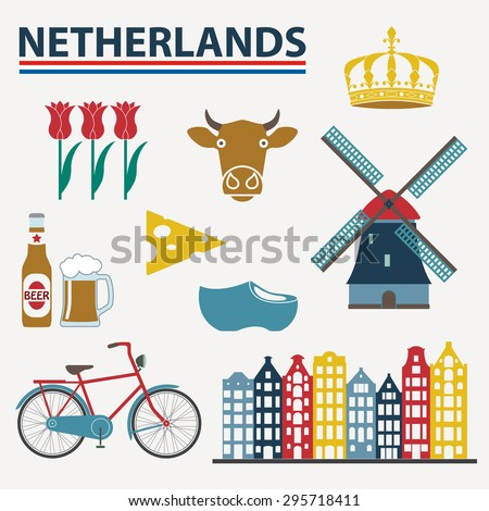 netherlands icon set in flat