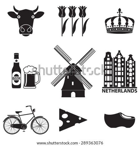 netherlands icon set isolated