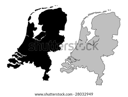 Netherlands map. Black and white. Mercator projection.