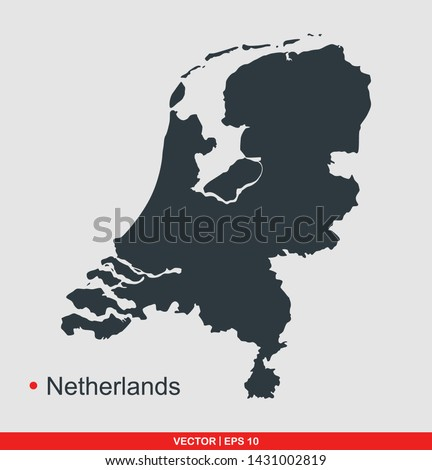 Netherlands map flat icon, vector illustration on gray background