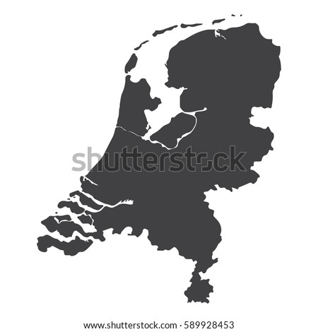netherlands map in black on a