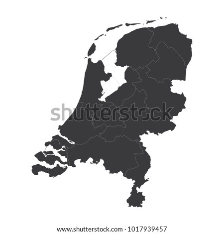 Netherlands map on white background vector, Netherlands Map Outline Shape Black on White Vector Illustration, High detailed black illustration map -Netherlands.