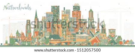 Netherlands Skyline with Color Buildings. Vector Illustration. Tourism Concept with Historic Architecture. Cityscape with Landmarks. Amsterdam. Rotterdam. The Hague. Utrecht.