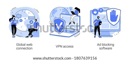 Network access abstract concept vector illustration set. Global web connection, VPN access, Ad blocking software, remote proxy server, web browser, IT technology, plug-in extension abstract metaphor.