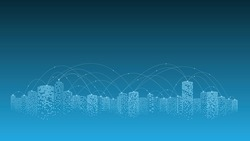 Network and communication in a digital city. The future of smart cities connected with Internet of things. 5g technology concept.