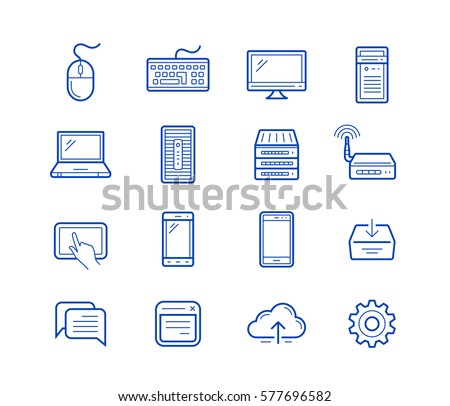 Network and mobile devices. Network connections. Simplus outlined icons. Linear style