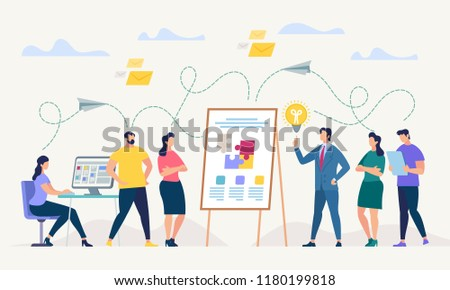Network and Teamwork Concept. Communication systems, Digital Technologies and Crowdsourcing. Networking People Set. Office Flipchat and Messaging. People Work in Office. Flat Vector Illustration.