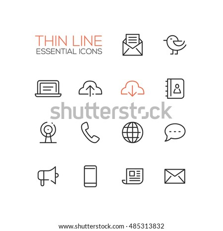 Network and technology symbols - set of modern vector thin line design icons and pictograms. Mail, cloud, laptop, contacts, location, phone, message, promote, smartphone, newsletter letter globe