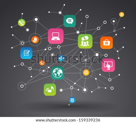 Network background with nodes and social media, communication icons . File is saved in AI10 EPS version. This illustration contains a transparency