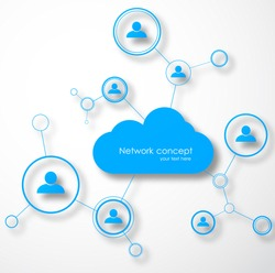 Network cloud concept. Social technology vector illustration